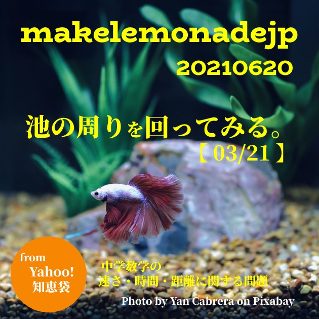 「池の周りを回ってみる。【 03/21 】 中学数学の速さ・時間・距離に関する問題」のアイキャッチ画像